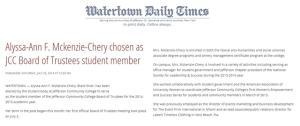 Alyssa chosen as JCC Board of Trustees student member