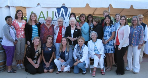 Group picture from the Jefferson County AAUW Annual Pot Luck Picnic and Wine Tasting at the  Thousand Island Winery on August 18, 2014.