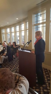 Colleen O'Neill addresses AAUW Members and guests.